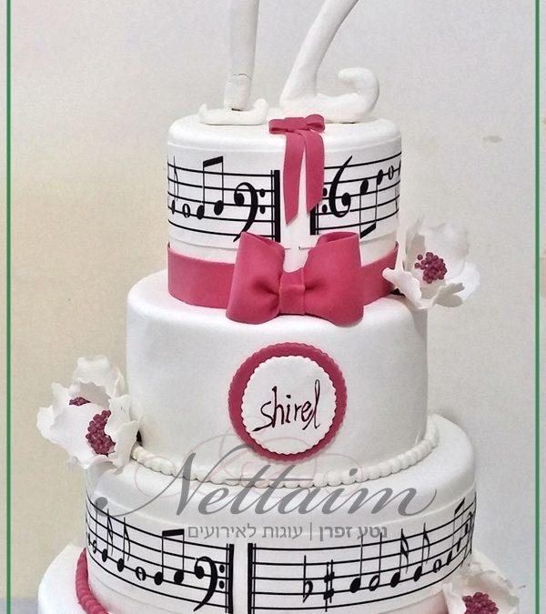עוגת בת מצווה מבצק סוכר או מזילוף